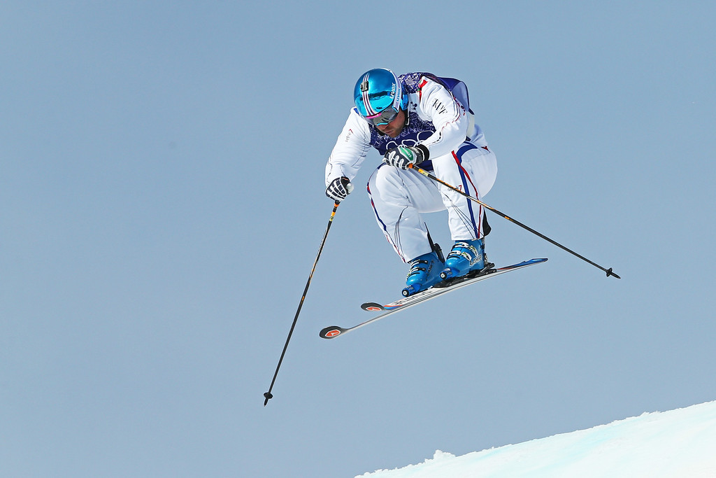 . Arnaud Bovolenta of France competes during the Freestyle Skiing Men\'s Ski Cross Semi Finals on day 13 of the 2014 Sochi Winter Olympic at Rosa Khutor Extreme Park on February 20, 2014 in Sochi, Russia.  (Photo by Cameron Spencer/Getty Images)
