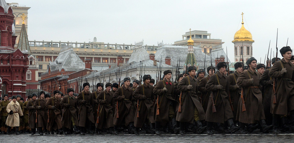 . Wearing the WWII-era Red Army uniform Russian soldiers march during a military parade at the Red Square in Moscow, on November 7, 2013. This week Russia marks the 72nd anniversary of the November 7, 1941, parade, when Red Army troops marched past the Kremlin and then went directly to the front line to fight the Nazi Germany troops at the gates of the Russian capital. VASILY MAXIMOV/AFP/Getty Images