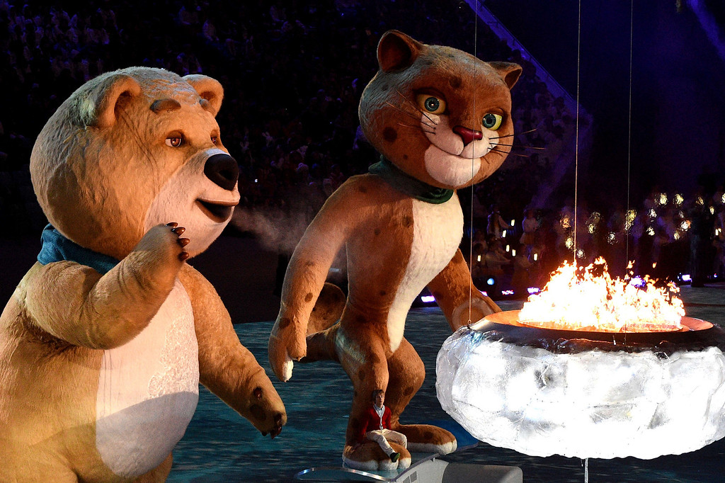 . The polar bear mascot extinguishes the Olympic Flame during the Closing Ceremony of the Sochi Winter Olympics at the Fisht Olympic Stadium on February 23, 2014. The 2018 Winter Olympic games are scheduled to take place in Pyeongchang, South Korea. ANDREJ ISAKOVIC/AFP/Getty Images