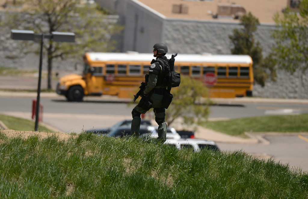 . Thornton High School was on a lock down as police looked for a gun in the school, May 24, 2013. Police searched the area of the school, but no gun was found. (Photo By RJ Sangosti/The Denver Post)