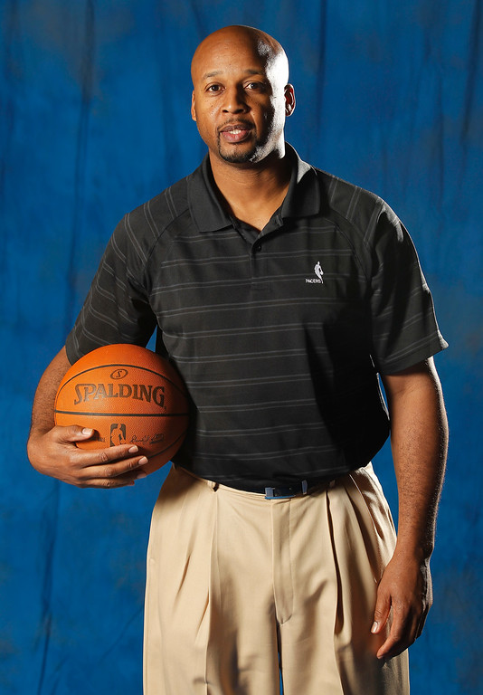 . Indiana Pacers assistant head coach Brian Shaw poses for a photo during the NBA basketball team\'s media day in Indianapolis, Wednesday, Dec. 14, 2011.  (AP Photo/Michael Conroy)