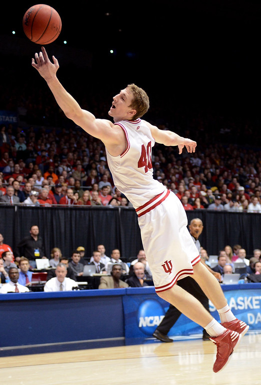 . Cody Zeller #40 of the Indiana Hoosiers reaches for a ball against the Temple Owls in the first half during the third round of the 2013 NCAA Men\'s Basketball Tournament at UD Arena on March 24, 2013 in Dayton, Ohio.  (Photo by Jason Miller/Getty Images)