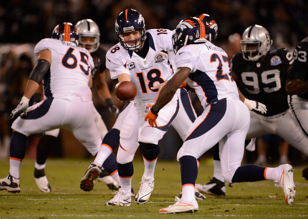 . Denver Broncos quarterback Peyton Manning (18) hands off to Denver Broncos running back Knowshon Moreno (27) during the first quarter against the Oakland Raiders Thursday, December 6, 2012 during Thursday Night Football at O.c Coliseum in Oakland  John Leyba, The Denver Post