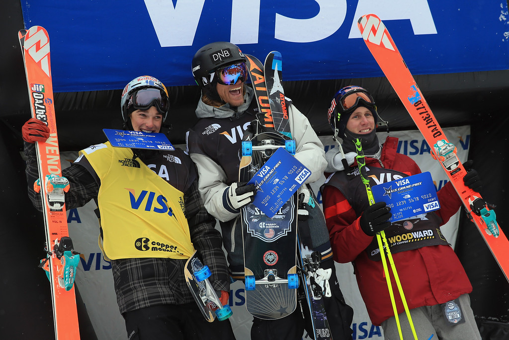 . (L-R) Nick Goepper of the United States in second place, Andreas Haatveit of Norway in first place and Russ Henshaw of Australia in third place, take the podium for the men\'s FIS Slopestyle Ski World Cup at the U.S. Snowboarding and Freeskiing Grand Prix on December 21, 2013 in Copper Mountain, Colorado.  (Photo by Doug Pensinger/Getty Images)
