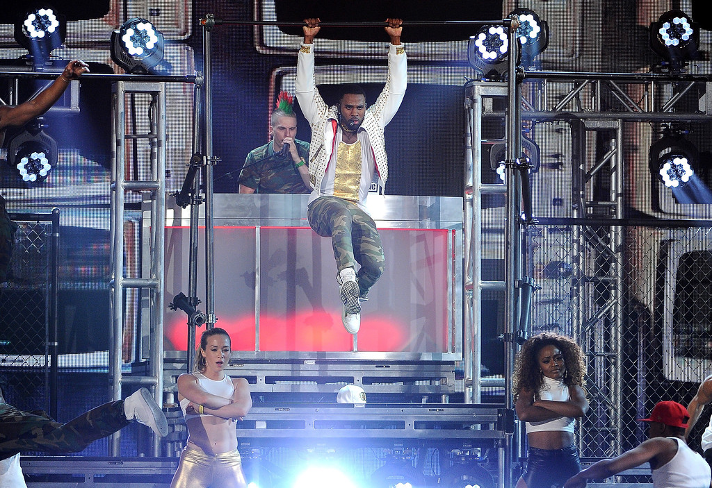 . Jason Derulo performs on stage at the Billboard Music Awards at the MGM Grand Garden Arena on Sunday, May 18, 2014, in Las Vegas. (Photo by Chris Pizzello/Invision/AP)