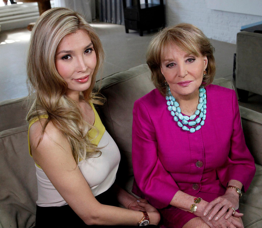 """. Beauty contestant Jenna Talackova, left, poses with ABC\'s Barbara Walters at an interview Thursday, April 5, 2012 in New York. Talackova, who advanced to the finals of the Miss Canada competition, part of the Miss Universe contest, says she was forced out of the competition because pageant officials alleged she was not \""""a naturally-born female.\""""  (AP Photo/ABC, Heidi Gutman)"""