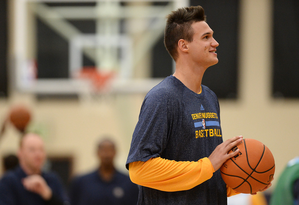 . Danilo Gallinari of Denver Nuggets (8) is in the team practice. The Denver Nuggets take the court for their first official practice under new coach Brian Shaw at Pepsi Center. Denver, Colorado. October 1, 2013. (Photo by Hyoung Chang/The Denver Post)