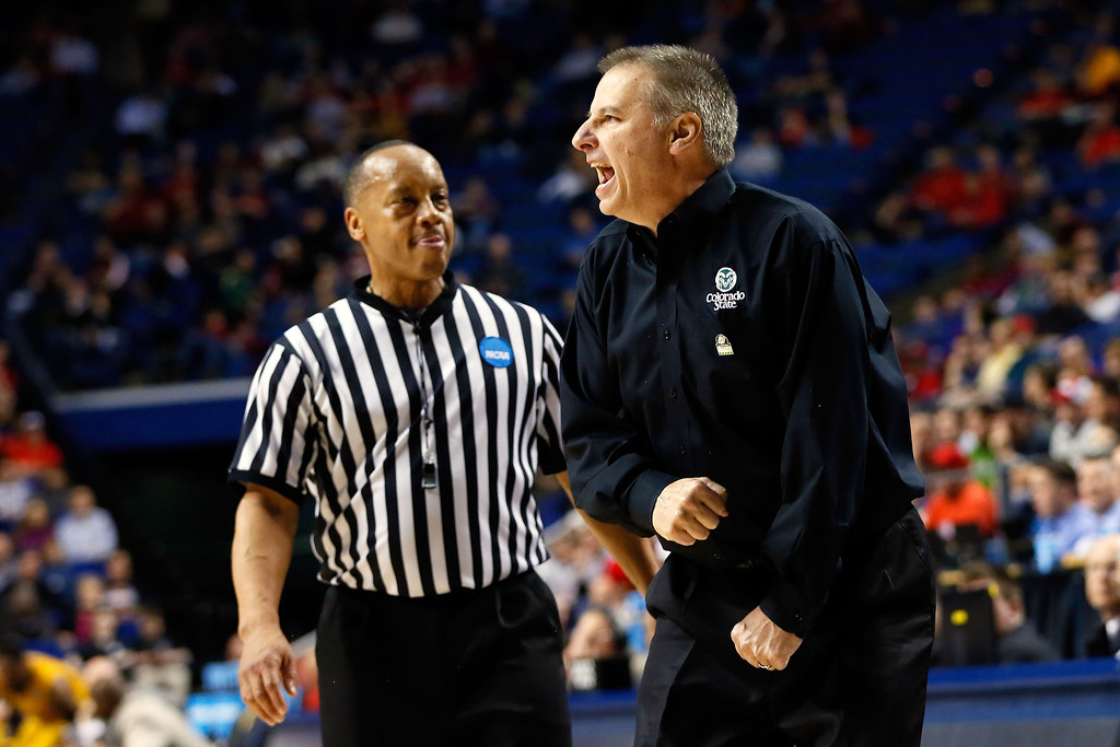 . LEXINGTON, KY - MARCH 21:  Head coach Larry Eustachy of the Colorado State Rams shouts from the bench against the Missouri Tigers during the second round of the 2013 NCAA Men\'s Basketball Tournament at the Rupp Arena on March 21, 2013 in Lexington, Kentucky.  (Photo by Kevin C. Cox/Getty Images)