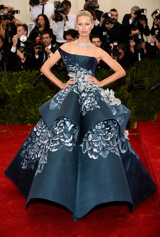 """. Karolina Kurkova attends the \""""Charles James: Beyond Fashion\"""" Costume Institute Gala at the Metropolitan Museum of Art on May 5, 2014 in New York City.  (Photo by Dimitrios Kambouris/Getty Images)"""