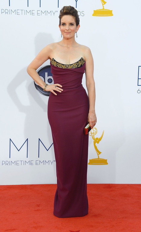 . Actress Tina Fey arrives at the 64th Annual Primetime Emmy Awards at Nokia Theatre L.A. Live on September 23, 2012 in Los Angeles, California.  (Photo by Frazer Harrison/Getty Images)