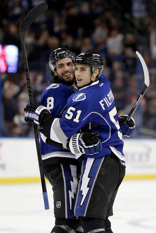 . Tampa Bay Lightning defenseman Mark Barberio (8) celebrates his goal against the Colorado Avalanche with teammate Valtteri Filppula, of Finland, during the second period of an NHL hockey game Saturday, Jan. 25, 2014, in Tampa, Fla. (AP Photo/Chris O\'Meara)