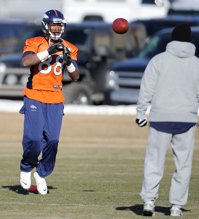 . Denver Broncos wide receiver Demaryius Thomas (88) catches a pass during practice Wednesday, January 2, 2013 at Dove Valley.  John Leyba, The Denver Post
