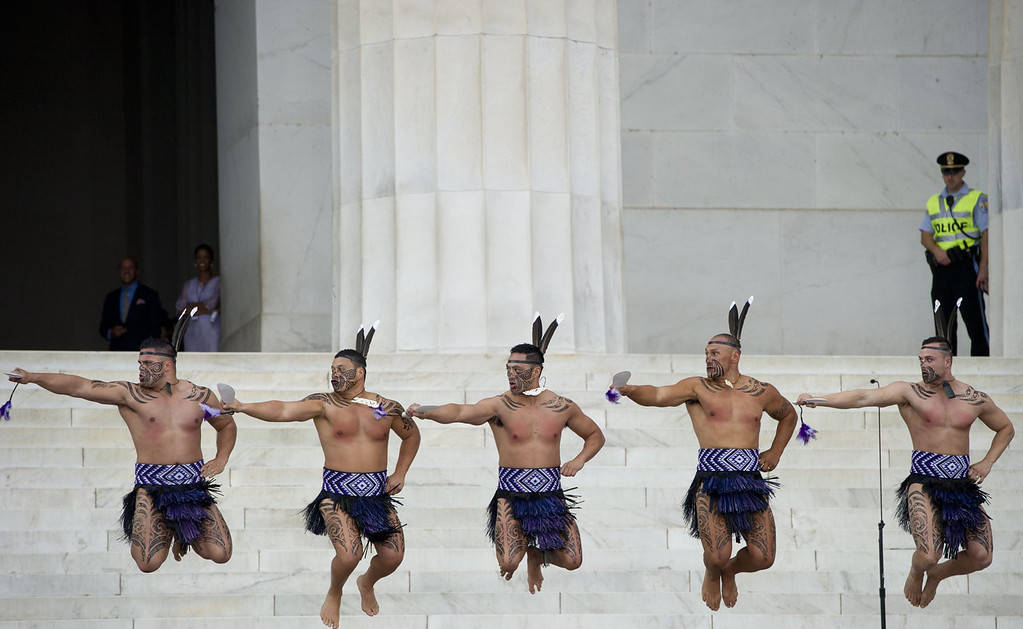 """. Traditional Maori dancers from Destiny Church, New Zealand perform during the Let Freedom Ring Commemoration and Call to Action to commemorate the 50th anniversary of the March on Washington for Jobs and Freedom at the Lincoln Memorial in Washington, DC on August 28, 2013. Thousands will gather on the mall on the anniversary of the march and Dr. Martin Luther King, Jr.\'s famous \""""I Have a Dream\"""" speech.  SAUL LOEB/AFP/Getty Images"""