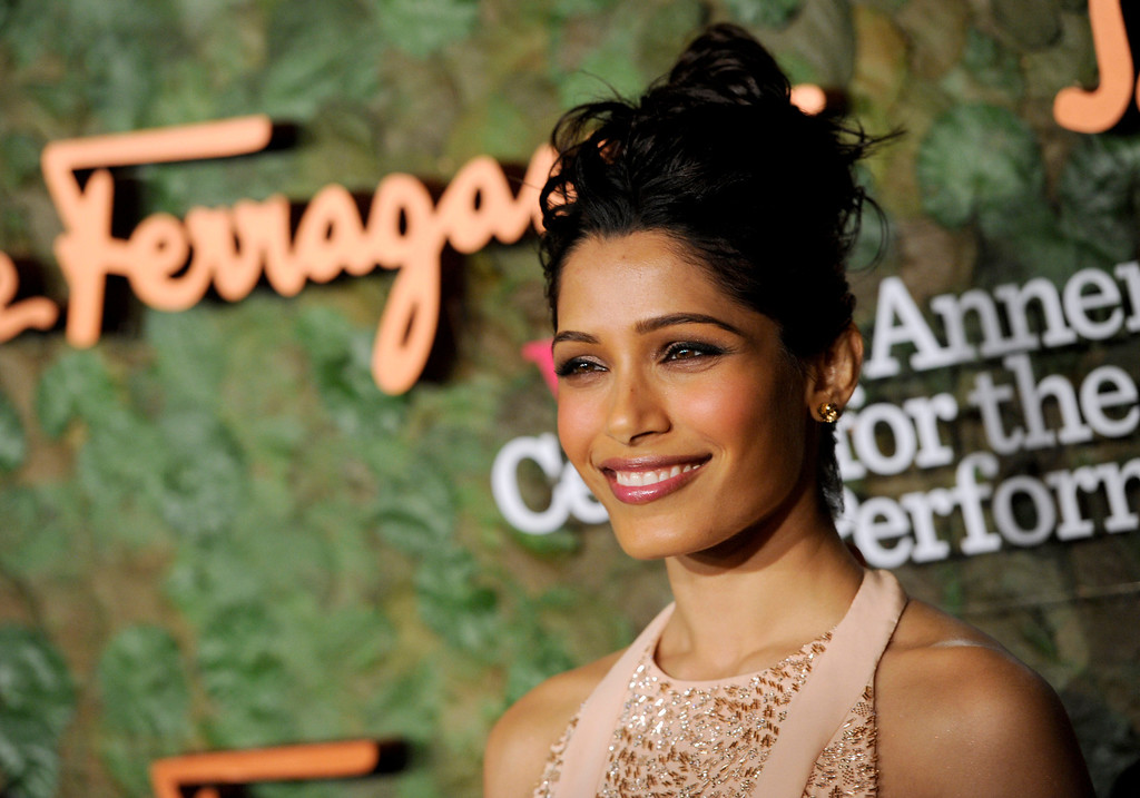. Actress Freida Pinto arrives at the Wallis Annenberg Center for the Performing Arts Inaugural Gala on Thursday, Oct. 17, 2013, in Beverly Hills, Calif. (Photo by Chris Pizzello/Invision/AP)