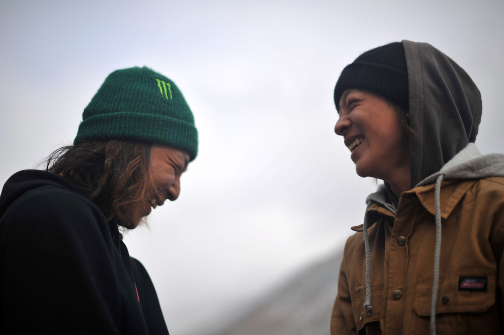 . VAIL, CO. - MARCH 1: Eiju Hirano, 17, left, and his brother Ayumu, 14, from Japan are in Vail for Burton U.S. Open. March 1, 2013. Vail, Colorado. (Photo By Hyoung Chang/The Denver Post)