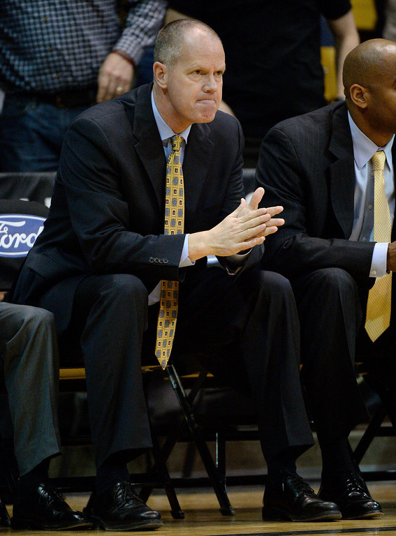 . Colorado Buffaloes head coach Tad Boyle gets ready on the bench for their game against the Oregon Ducks January 5, 2014 at Coors Events Center. (Photo by John Leyba/The Denver Post)