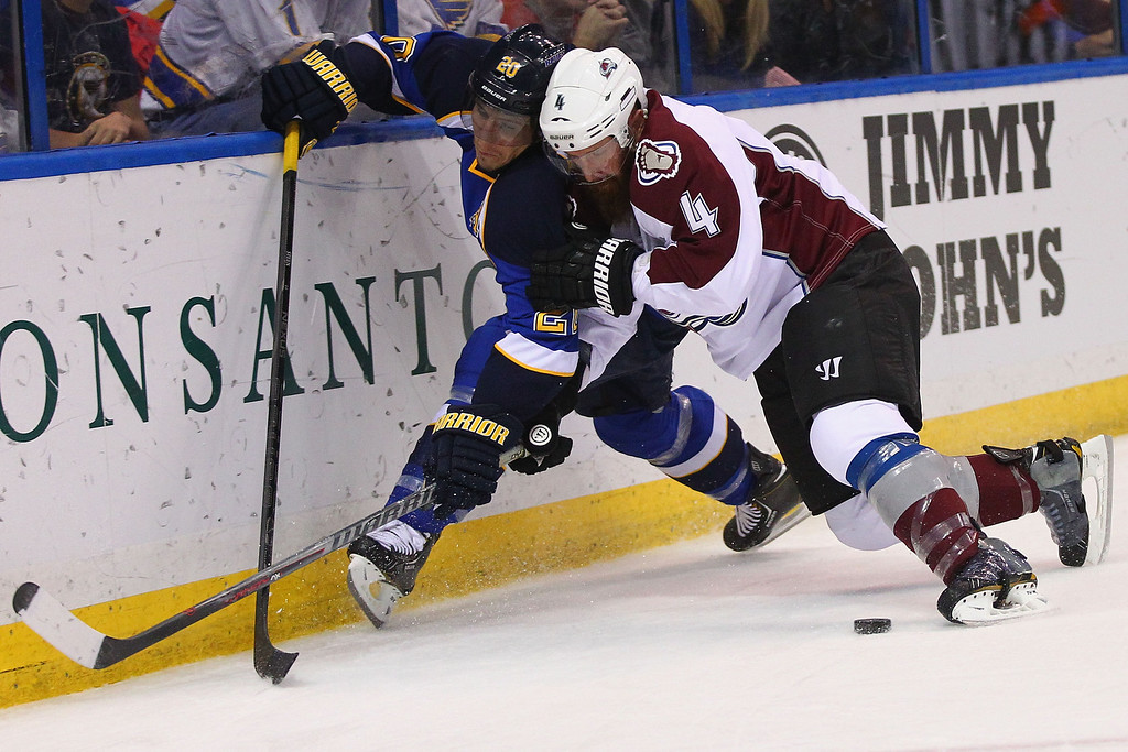 . ST. LOUIS, MO - APRIL 23: Greg Zanon #4 of the Colorado Avalanche checks Alexander Steen #20 of the St. Louis Blues into the boards during the first period at the Scottrade Center on April 23, 2013 in St. Louis, Missouri.  (Photo by Dilip Vishwanat/Getty Images)