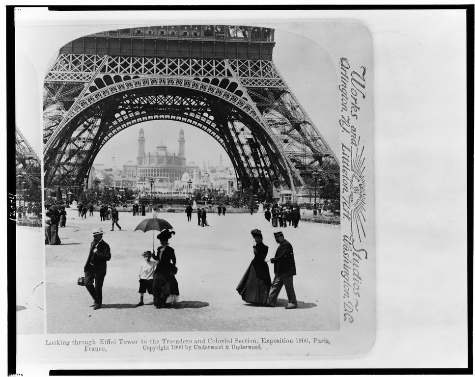 . Looking through Eiffel Tower to the Trocadero and Colonial Section, Exposition 1900, Paris, France (Library of Congress Prints and Photographs Division)
