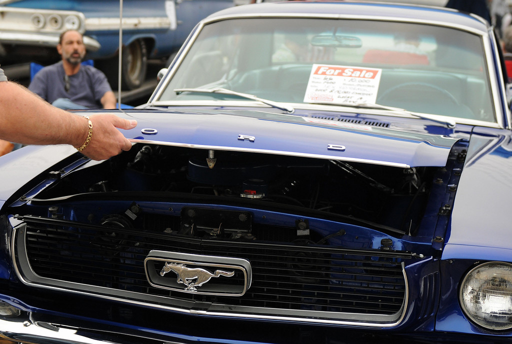 . A Ford Mustang is on display at Pomona\'s antique automobile market on August 16, 2009.  GABRIEL BOUYS/AFP/Getty Images