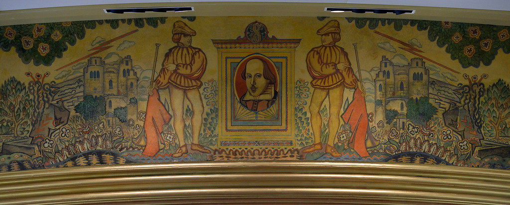 """. Detail of the newly restored  \""""Shakespeare Mural\"""" by John Thompson which surrounds the stage in the  Reiman Theater at the Daniels College of Business at the University of Denver campus on Wednesday April 23, 2014. The mural was painted in 1929.  (Denver Post Photo by Cyrus McCrimmon)"""