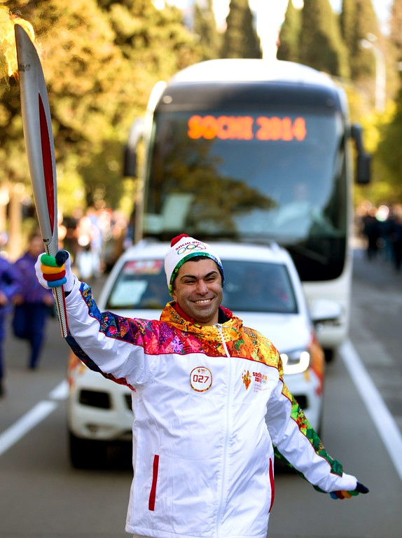 . A handout picture taken during the Sochi 2014 Winter Olympic torch relay on February 7, 2014, and released by the Sochi 2014 Winter Olympics Organizing Committee shows Bolshoi ballet star Nikolai Tsiskaridze carrying an Olympic torch in central district of the Black Sea resort of Sochi. AFP PHOTO / SOCHI 2014 ORGANIZING COMMITTEE-/AFP/Getty Images
