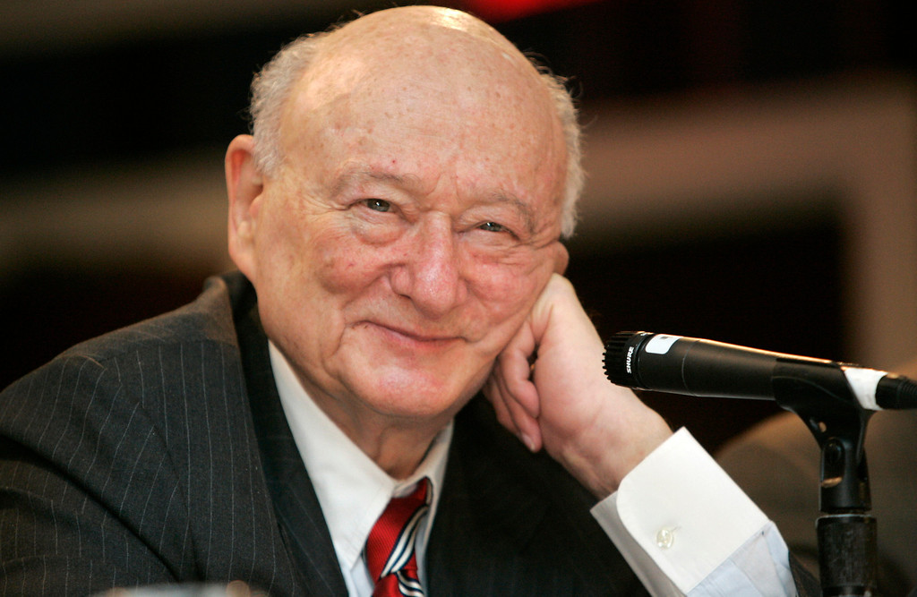 . In this April 18, 2007, file photo, former New York Mayor Ed Koch listens during the 9th annual National Action Network convention in New York. Koch, the combative politician who rescued the city from near-financial ruin during three City Hall terms, died Friday, Feb. 1, 2013. He was 88. (AP Photo/Frank Franklin II)