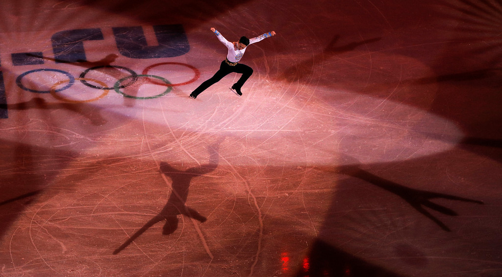 . Denis Ten of Kazakhstan performs during the figure skating exhibition gala at the Iceberg Skating Palace during the 2014 Winter Olympics, Saturday, Feb. 22, 2014, in Sochi, Russia. (AP Photo/Vadim Ghirda)
