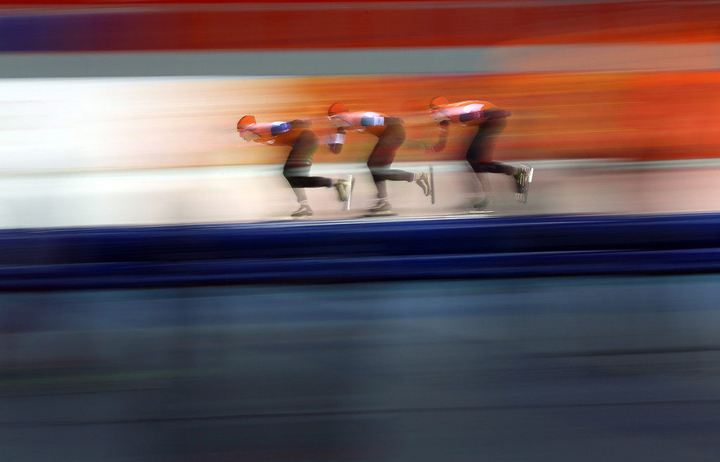 . (L-R) Netherlands\' Ireen Wust, Netherlands\' Marrit Leenstra and Netherlands\' Jorien ter Mors compete in the Women\'s Speed Skating Team Pursuit Semifinals to break the world record at the Adler Arena during the Sochi Winter Olympics on February 22, 2014. ADRIAN DENNIS/AFP/Getty Images
