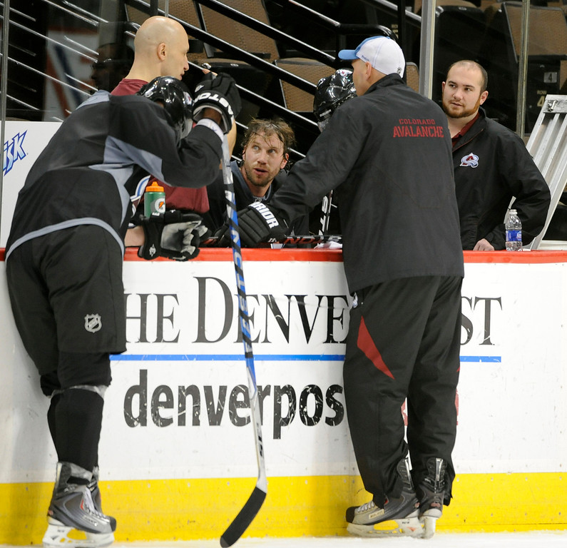 . Colorado Avalanche, Peter Forsberg continues practicing with the Avs, trying to determine if he can make a successful return to the NHL afer nerly three years out of the league. Kathryn Scott Osler, The Denver Post