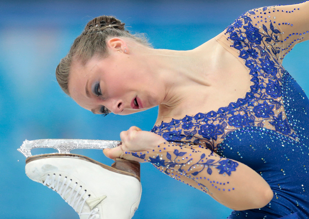 . Nathalie Weinzierl of Germany competes in the women\'s free skate figure skating finals at the Iceberg Skating Palace during the 2014 Winter Olympics, Thursday, Feb. 20, 2014, in Sochi, Russia. (AP Photo/Ivan Sekretarev)