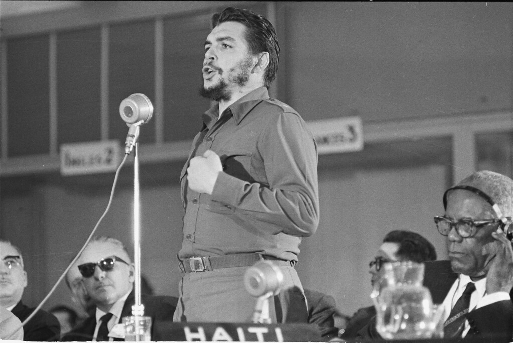 """. Cuba\'s Economic Minister, Ernesto \""""Che\"""" Guevara speaks before the afternoon session of the Inter-American Economic and Social Conference at Punta del Este, Uruguay, Aug. 8, 1961.  Guevara attacked Pres. John F. Kennedy\'s Alliance For Progress proposal during his two-hour, fifteen-minute speech.  (AP Photo)"""