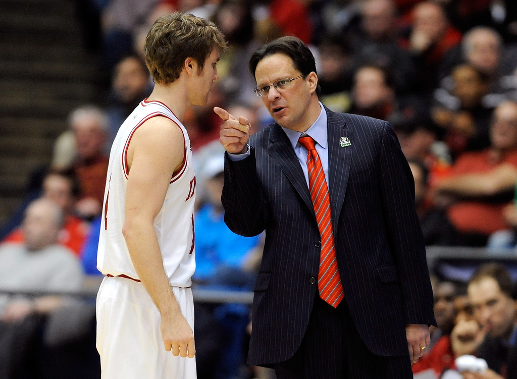 . DAYTON, OH - MARCH 22: Head coach Tom Crean of the Indiana Hoosiers talks to Jordan Hulls #1 in the first half against the James Madison Dukes during the second round of the 2013 NCAA Men\'s Basketball Tournament at UD Arena on March 22, 2013 in Dayton, Ohio.  (Photo by Jason Miller/Getty Images)
