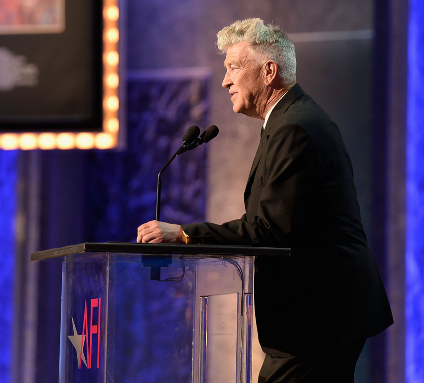 . Director David Lynch speaks onstage during the 41st AFI Life Achievement Award Honoring Mel Brooks at Dolby Theatre on June 6, 2013 in Hollywood, California. Special Broadcast will air Saturday, June 15 at 9:00 P.M. ET/PT on TNT and Wednesday, July 24 on TCM as part of an All-Night Tribute to Brooks.  (Photo by Frazer Harrison/Getty Images for AFI)