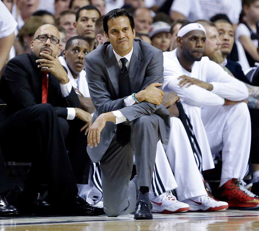 . Miami Heat head coach Erik Spoelstra looks at his team during the first half in Game 3 of the NBA basketball finals against the San Antonio Spurs, Tuesday, June 10, 2014, in Miami. (AP Photo/Wilfredo Lee)