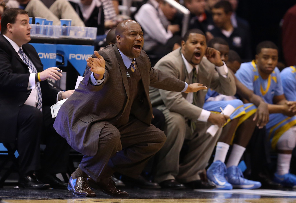 . SALT LAKE CITY, UT - MARCH 21:  Head coach Roman Banks of the Southern University Jaguars calls out in the first half while taking on the Gonzaga Bulldogs during the second round of the 2013 NCAA Men\'s Basketball Tournament at EnergySolutions Arena on March 21, 2013 in Salt Lake City, Utah.  (Photo by Streeter Lecka/Getty Images)