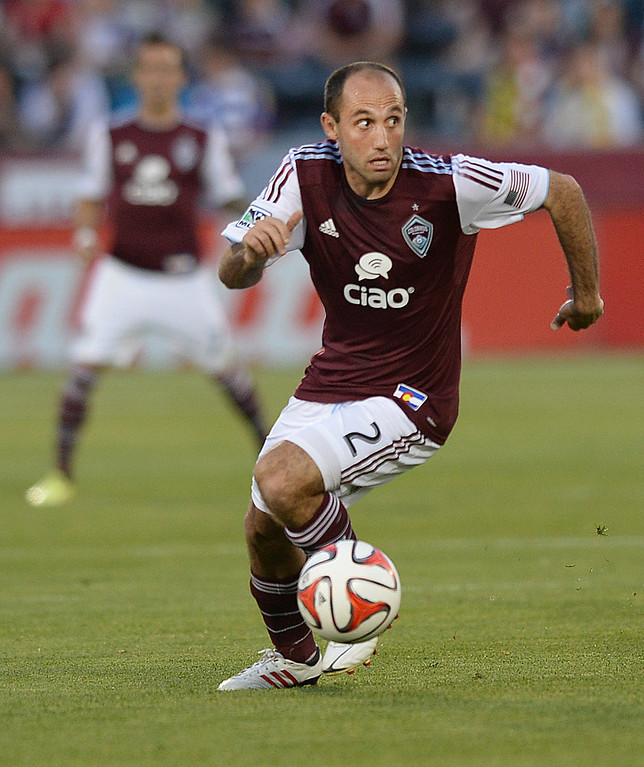 . COMMERCE CITY, CO - MAY 3:  Colorado midfielder Nick LaBrocca (2) advanced the ball in the first half. The Colorado Rapids defeated the Los Angeles Galaxy 1-0 Saturday night, May 3, 2014 at Dick\'s Sporting Good Park. (Photo by Karl Gehring/The Denver Post)
