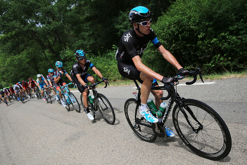 . Chris Froome of Great Britain and Team Sky Procycling leads the peloton during stage five of the 2013 Tour de France, a 228.5KM road stage from Cagnes-sur-mer to Marseille, on July 3, 2013 in Marseille, France.  (Photo by Doug Pensinger/Getty Images)