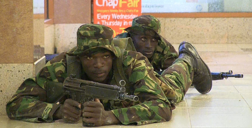 . An image grab taken from AFP TV shows Kenyan troops taking position on September 21, 2013 inside the Westgate mall in Nairobi. AFP PHOTO/AFPTV/NICHOLE  Sobecki/AFP/Getty Images