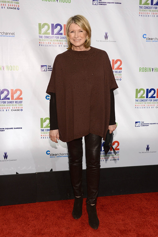 ". NEW YORK, NY - DECEMBER 12:  Martha Stewart attends ""12-12-12\"" a concert benefiting The Robin Hood Relief Fund to aid the victims of Hurricane Sandy presented by Clear Channel Media & Entertainment, The Madison Square Garden Company and The Weinstein Company at Madison Square Garden on December 12, 2012 in New York City.  (Photo by Dimitrios Kambouris/Getty Images)"