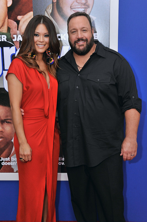 ". Steffiana de la Cruz (L) and actor Kevin James attend the ""Grown Ups 2\"" New York Premiere at AMC Lincoln Square Theater on July 10, 2013 in New York City.  (Photo by Stephen Lovekin/Getty Images)"
