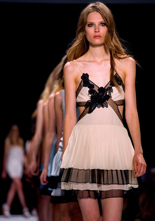 . The Jill Stuart 2014 collection is modeled during Fashion Week in New York, Saturday, Sept. 7, 2013. (AP Photo/Craig Ruttle)