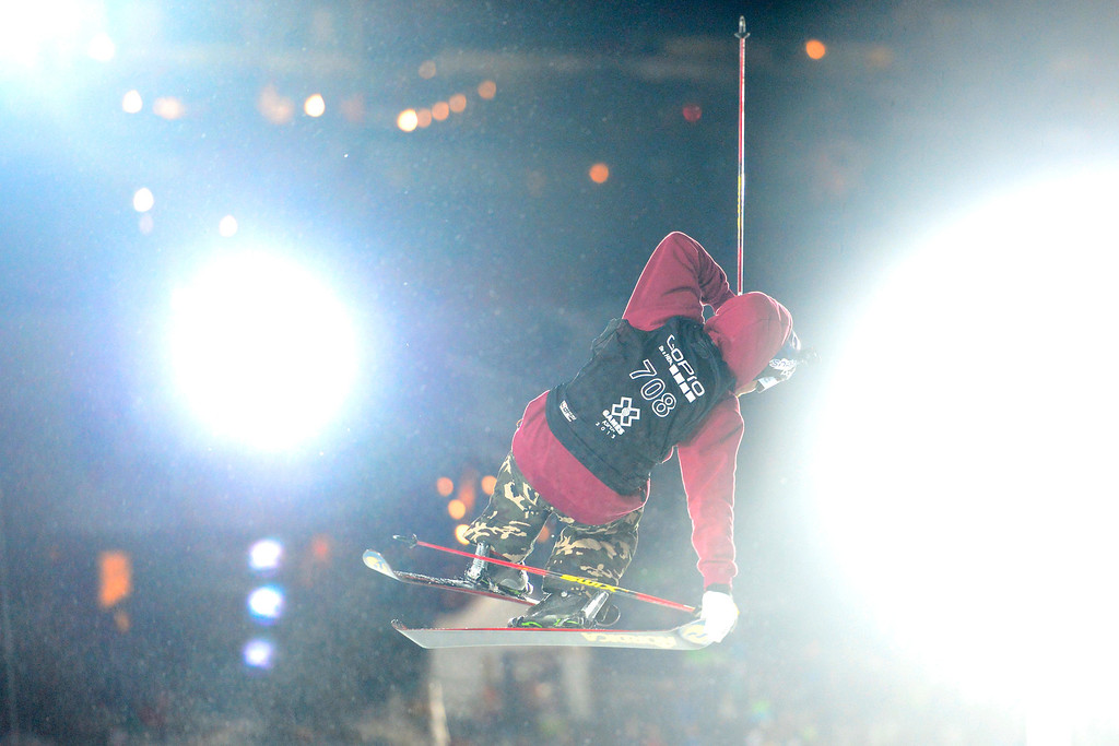 . ASPEN, CO. - JANUARY 24: Tucker Perkins grabs air during the men\'s ski superpipe final. X Games Aspen Buettermilk Mountain Aspen January 25, 2013 (Photo By AAron Ontiveroz / The Denver Post)