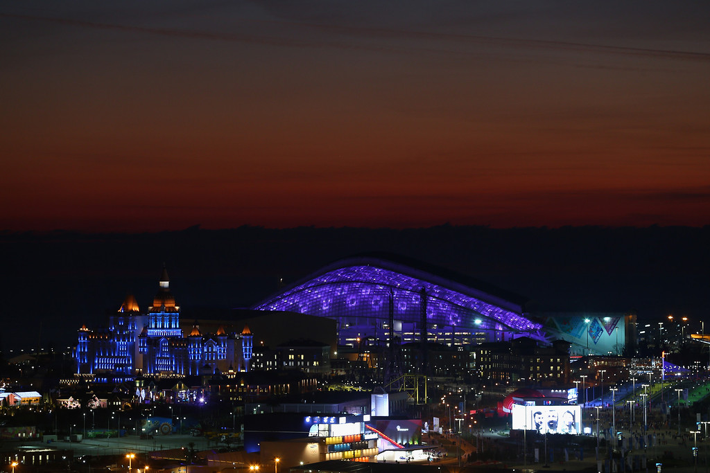 . A general view of sunset at the Olympic Park during the Opening Ceremony of the Sochi 2014 Winter Olympics at Fisht Olympic Stadium on February 7, 2014 in Sochi, Russia.  (Photo by Streeter Lecka/Getty Images)