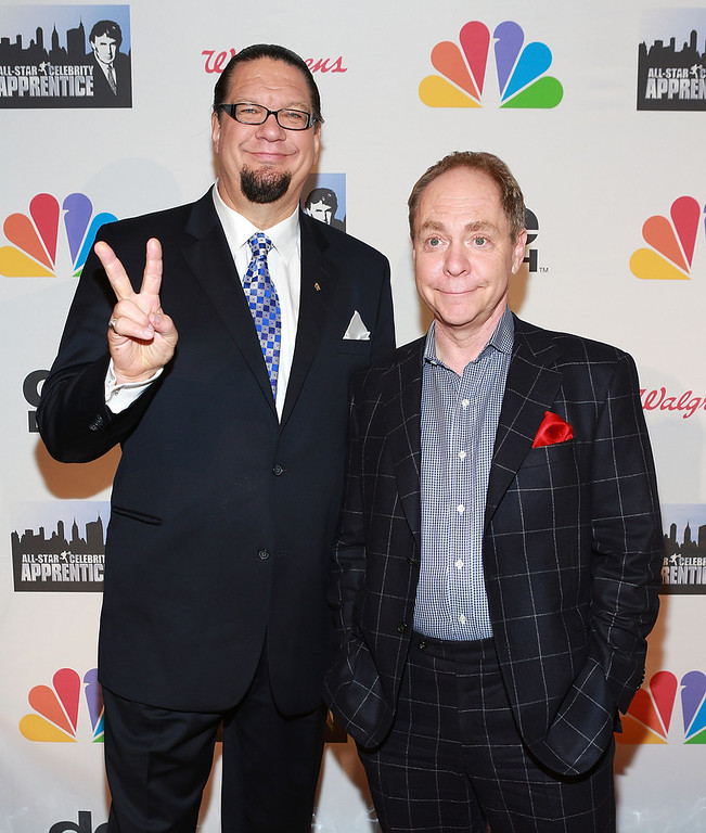". Penn Jillette (L) and Teller attend ""All Star Celebrity Apprentice\"" Finale at Cipriani 42nd Street on May 19, 2013 in New York City.  (Photo by Robin Marchant/Getty Images)"