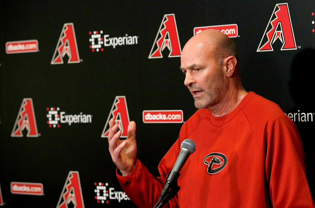 . Arizona Diamondbacks manager Kirk Gibson talks with reporters a day before the start of spring training for pitchers and catchers, at the Diamondbacks\' training facility Thursday, Feb. 6, 2014, in Scottsdale, Ariz. (AP Photo/Ross D. Franklin)