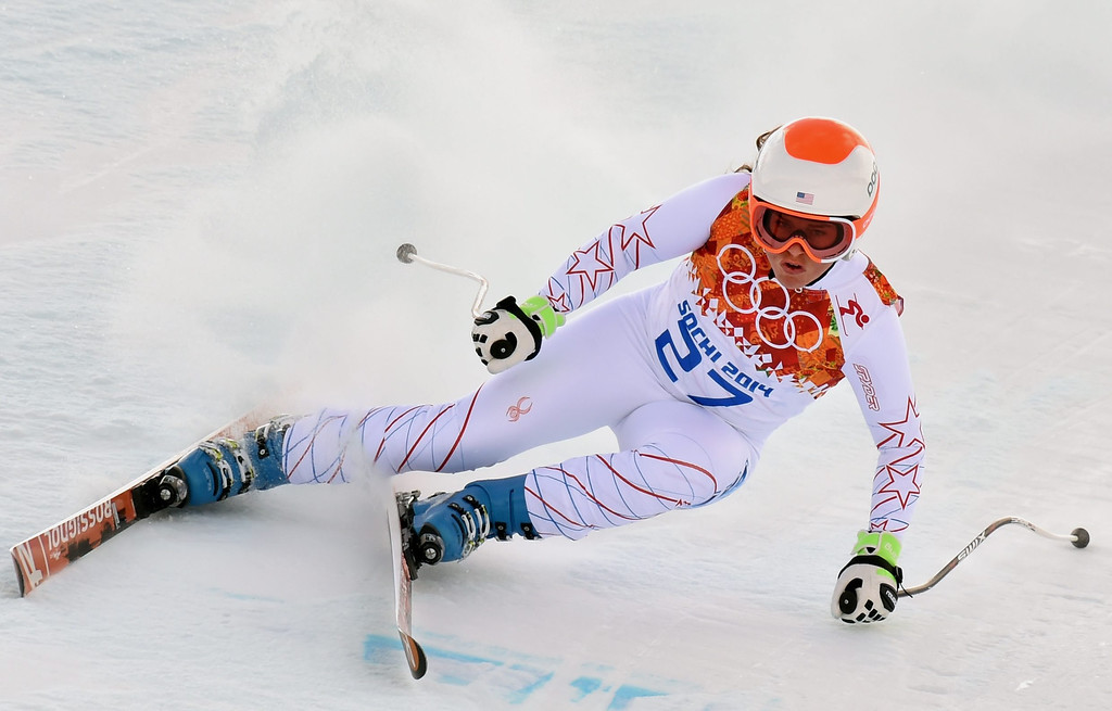 . Leanne Smith of the USA in action during the Downhill portion of the Women\'s Super Combined race at the Rosa Khutor Alpine Center during the Sochi 2014 Olympic Games, Krasnaya Polyana, Russia, 10 February 2014.  EPA/JUSTIN LANE