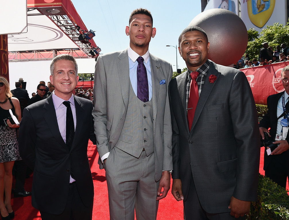 . LOS ANGELES, CA - JULY 16: (L-R) NBA personality Bill Simmons with College basketball player Isaiah Austin and NBA personality Jalen Rose  attend The 2014 ESPYS at Nokia Theatre L.A. Live on July 16, 2014 in Los Angeles, California.  (Photo by Michael Buckner/Getty Images For ESPYS)