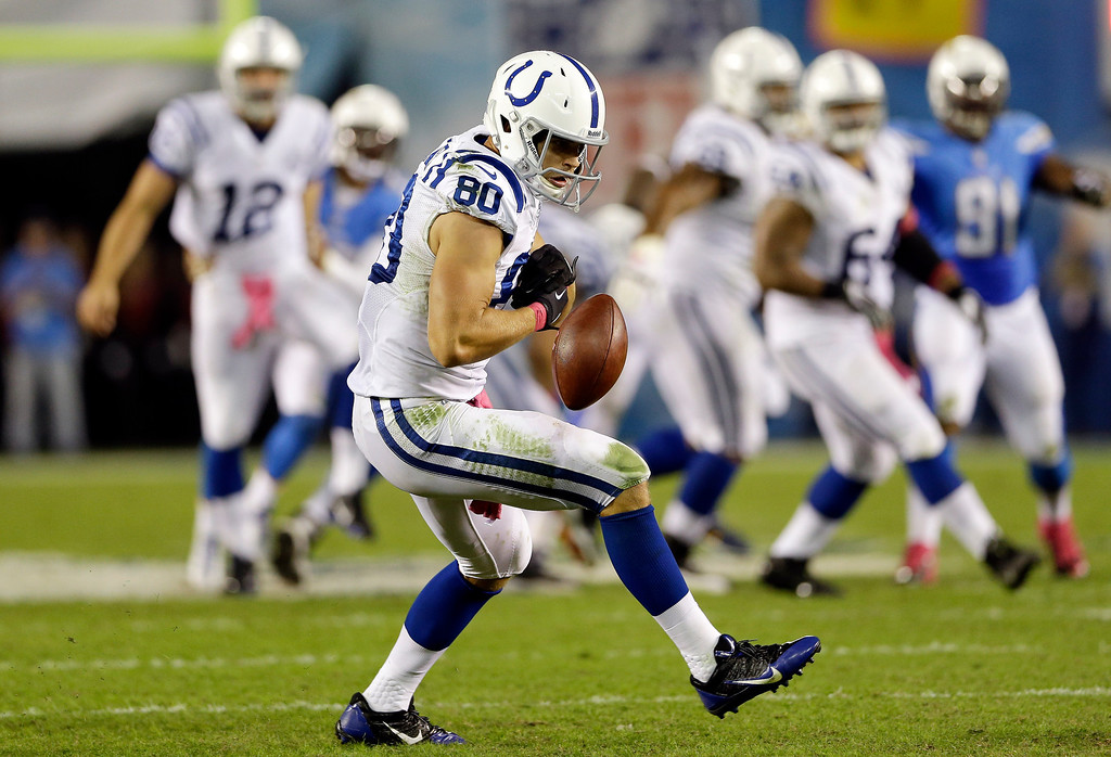 . Indianapolis Colts tight end Coby Fleener (80) drops a pass while playing the San Diego Chargers during the first half of an NFL football game Monday, Oct. 14, 2013, in San Diego. (AP Photo/Lenny Ignelzi)