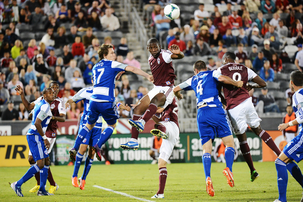 . COMMERCE CITY, CO. - June 01: Hendry Thomas (12) and Edson Buddle (9) of Colorado Rapids and Zach Loyd (17) and Andrew Jacobson (4) of FC Dallas are in action during the 2nd half of the game at Dick\'s Sporting Goods Park. Commerce City, Colorado. June 1, 2013. Game tied 2-2. (Photo By Hyoung Chang/The Denver Post)