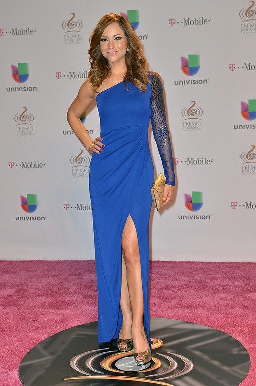 ". Satcha Pretto arrives at the 25th Anniversary Of Univision\'s ""Premio Lo Nuestro A La Musica Latina\"" on February 21, 2013 in Miami, Florida.  (Photo by Gustavo Caballero/Getty Images for Univision)"